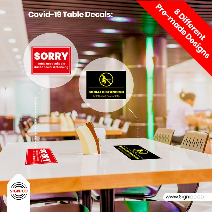 Covid-19 Table Decals